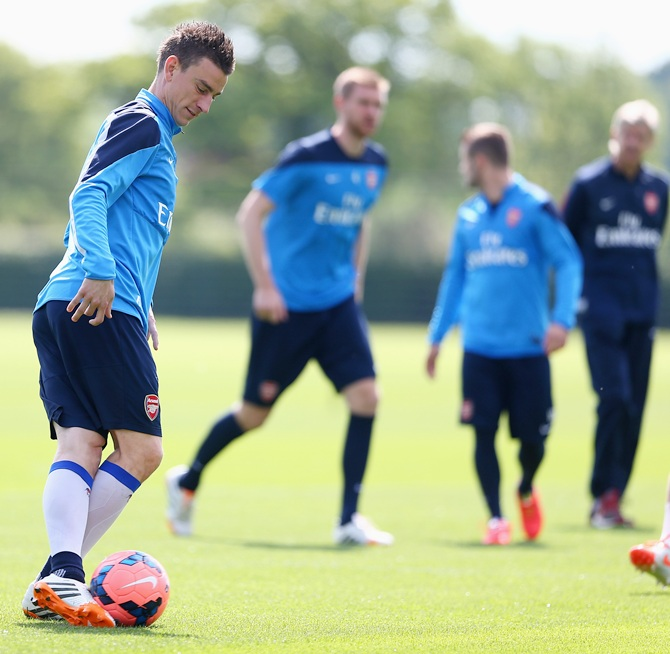 Laurent Koscielny of Arsenal in action during a training session
