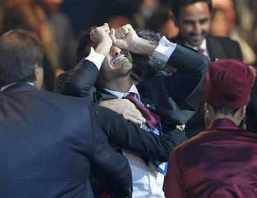 Members of Qatar's delegation react after the announcement that Qatar is going to be host nation for the FIFA World Cup 2022, in Zurich