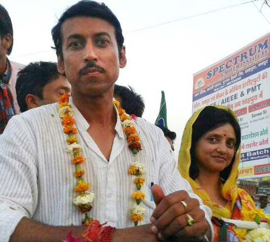Rajyavardhan Rathore with his wife Gayithri