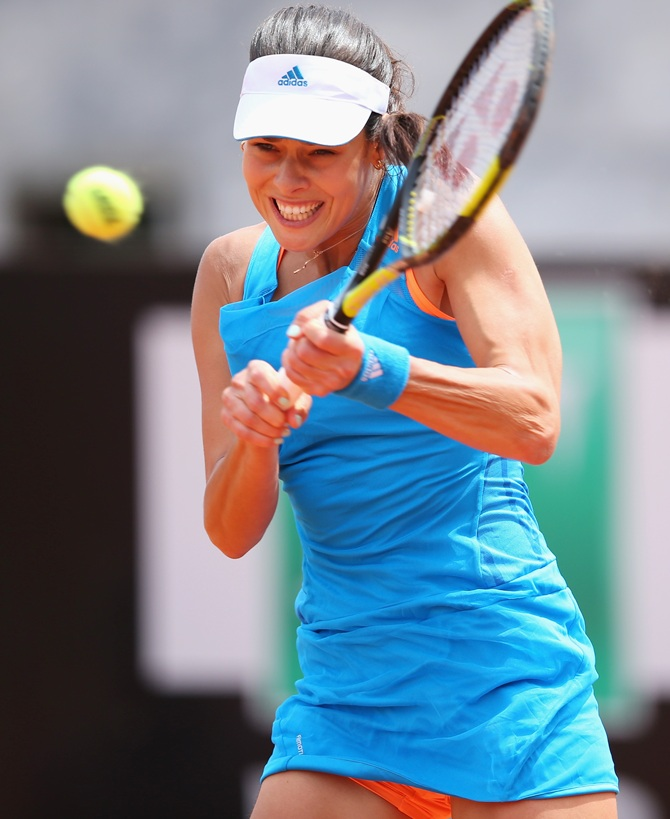 Ana Ivanovic of Serbia in action