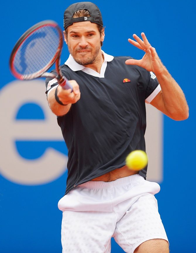 Tommy Haas of Germany plays a forehand