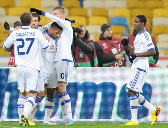 FC Dynamo Kiev players celebrate