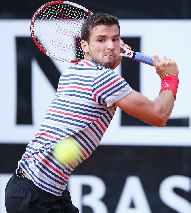 Grigor Dimitrov of Bulgaria in action