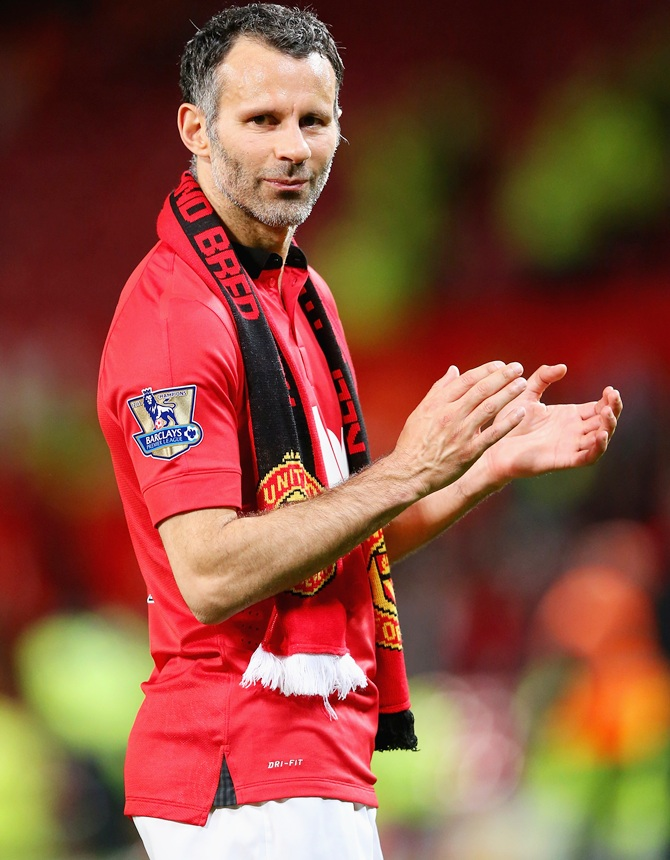 Manchester United Caretaker Manager Ryan Giggs acknowledges the fans