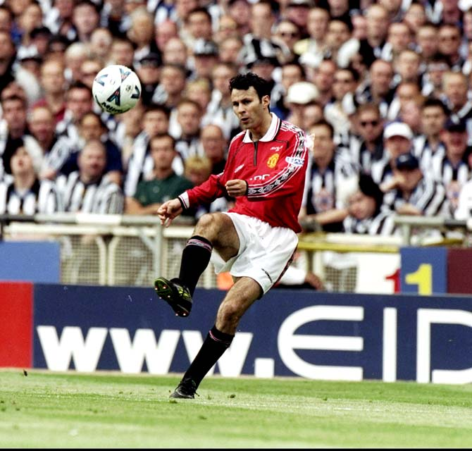 Ryan Giggs in action during the FA Cup Final match against Newcastle United at Wembley Stadium in London, on May 22, 1999.