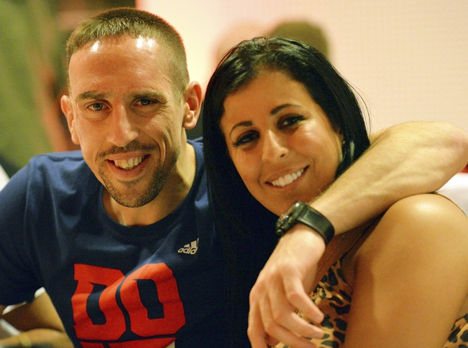 Franck Ribery and his wife Wahiba