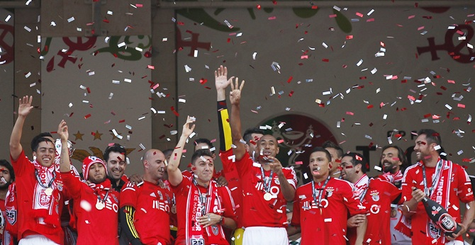 Benfica's players celebrate after winning their Portuguese Cup final match