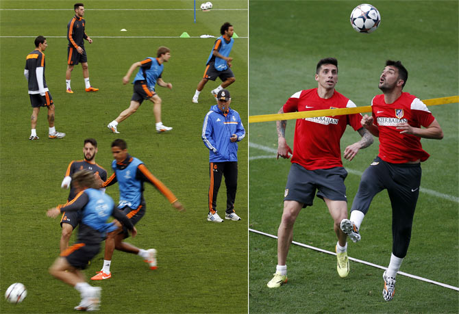 Real Madrid and Atletico Madrid during their respective training sessions on Tuesday