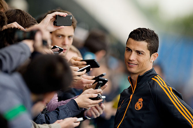 Cristiano Ronaldo of Real Madrid CF speaks during the Real Madrid media day, at Valdebebas Sport City on Tuesday