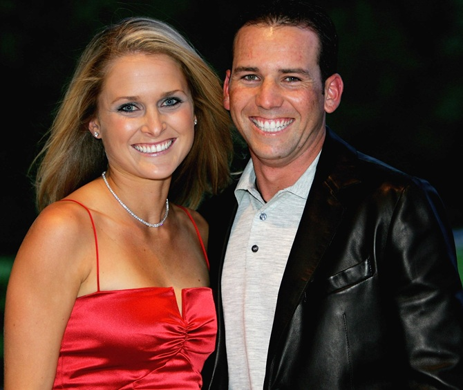 Sergio Garcia of Spain poses with Morgan-Leigh Norman