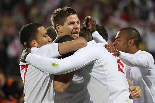 England football captain Steven Gerrard and teammates
