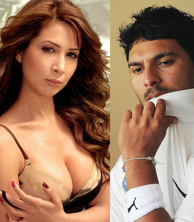 Yuvraj Singh and Kim Sharma