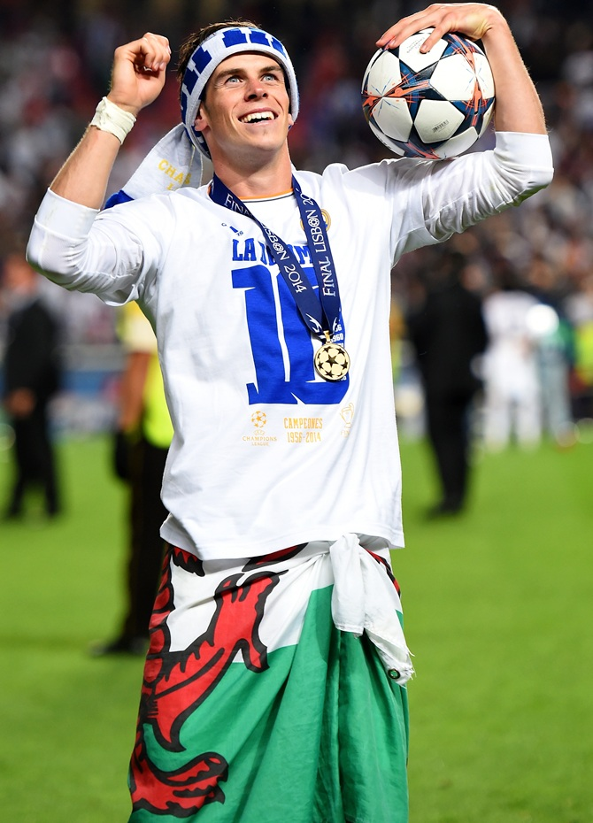 Gareth Bale of Real Madrid celebrates after winning the UEFA Champions League