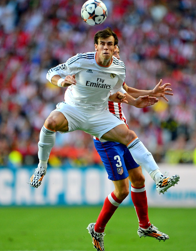 Gareth Bale of Real Madrid heads the ball during the UEFA Champions League Final