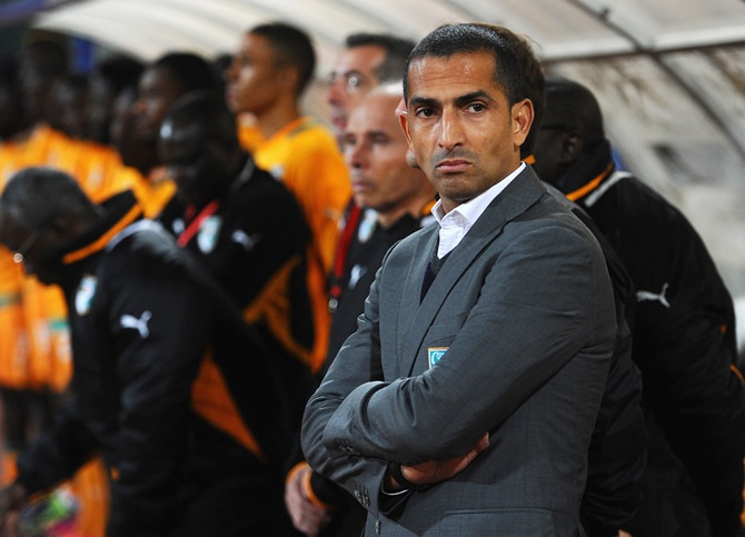 Ivory Coast coach Sabri Lamouchi looks on