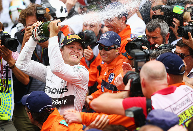 Nico Rosberg of Germany and Mercedes GP celebrates following his victory during the Monaco Formula One Grand Prix at Circuit de Monaco on Sunday
