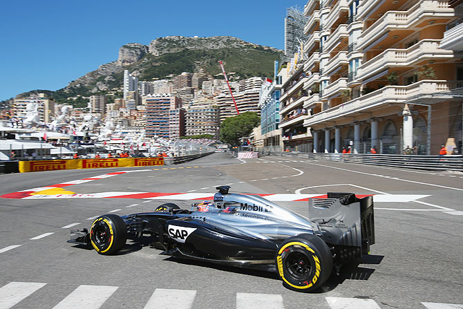 Jenson Button of Great Britain and McLaren drives in Monaco