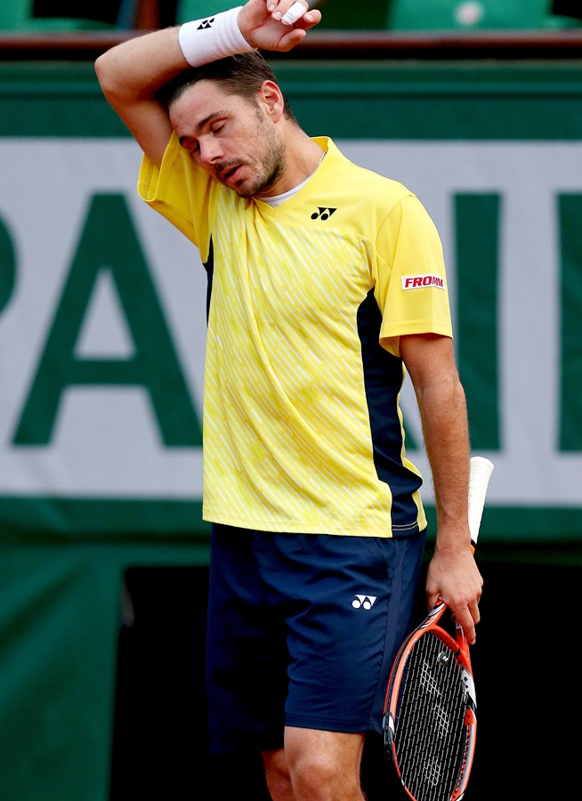 Stanislas Wawrinka of Switzerland reacts