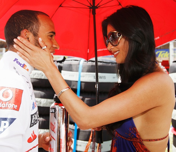 Lewis Hamilton with Nicole Scherzinger of the Pussycat Dolls fame