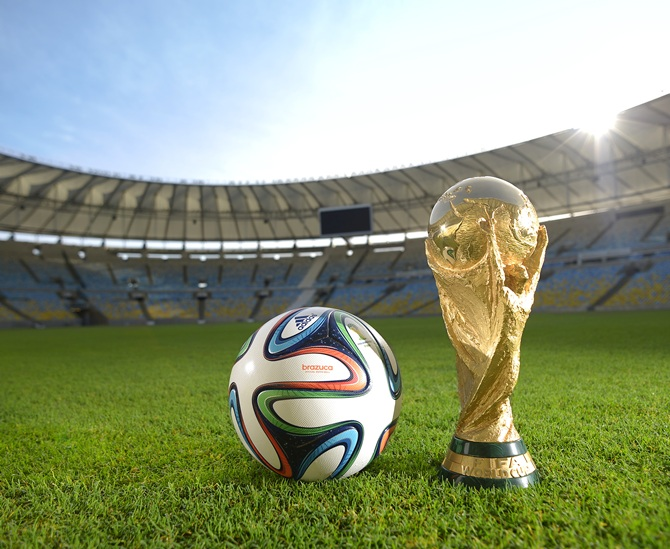 A general view of Brazuca and the FIFA World Cup Trophy at the Maracana before the adidas Brazuca launch