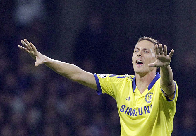 Chelsea's Nemanja Matic celebrates after scoring against Maribor