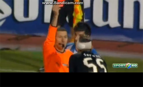 A video grab of FC Viitorul Constanta's Alin Seroni getting the card following the dangerous tackle