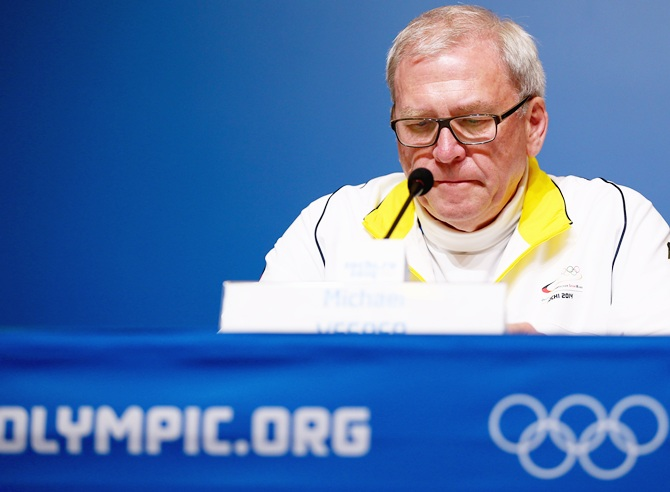 Chef de Mission Michael Vesper of Germany talks to the media during a German Olympic   Sports Confederation (DOSB)