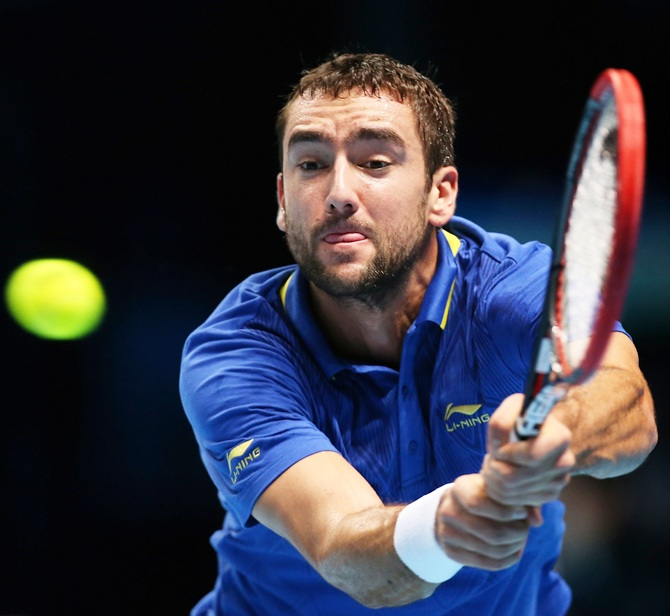 Marin Cilic plays a backhand