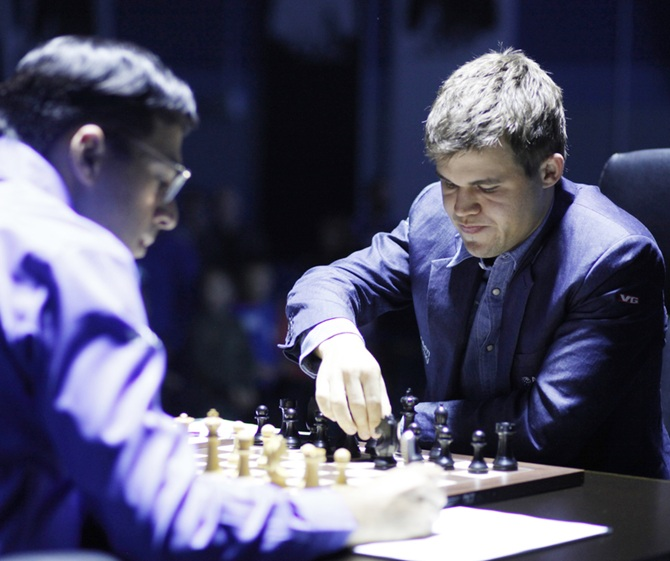 Magnus Carlsen, right, and Viswanathan Anand