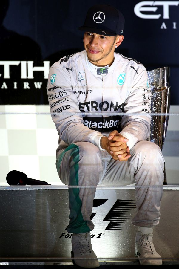 Lewis Hamilton of Great Britain and Mercedes GP celebrates