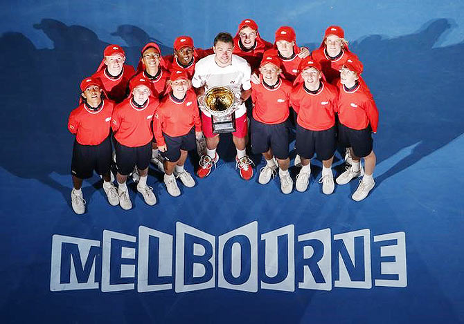 Australian Open 2014 champion Stanislas Wawrinka with the trophy