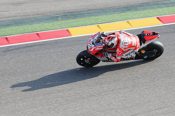 Andrea Dovizioso of Italy and Ducati Team rounds the bend during the MotoGP of Spain