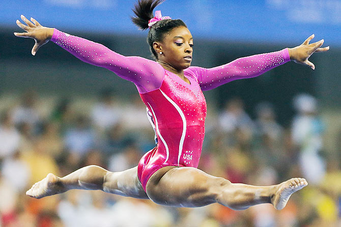 Simone Biles of United States performs on the Balance Beam during the Women's All-Around Final in day four of the 45th Artistic Gymnastics World Championships at Guangxi Sports Center Stadium in Nanning, China, on Friday