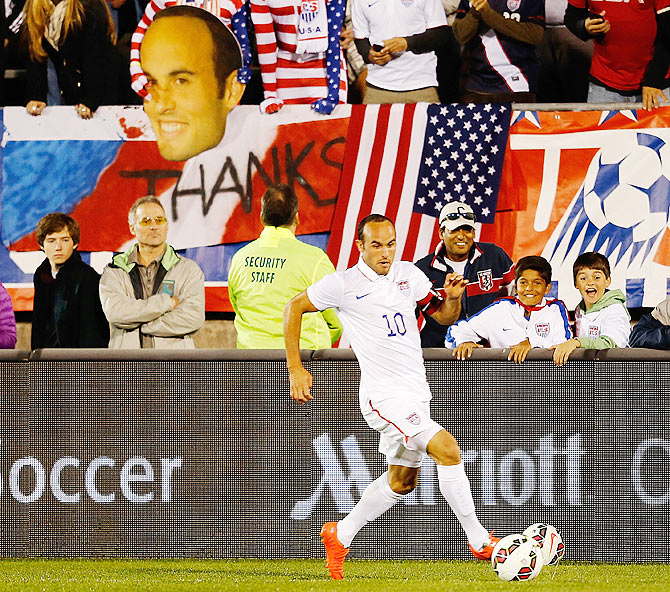 Landon Donovan #10 of the United States dribbles the ball down field in the first half in their match against Ecuador during an international friendly at Rentschler Field  in East Hartford, Connecticut, on Friday