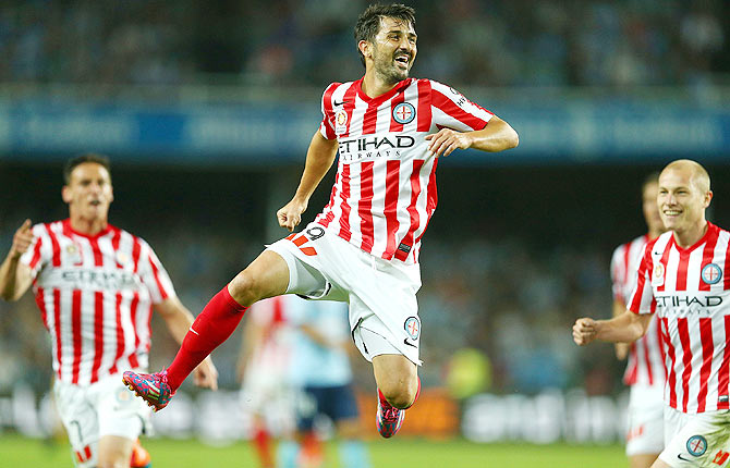 David Villa of Melbourne City celebrates a goal during the round one A-League match against Sydney FC at Allianz Stadium on Saturday