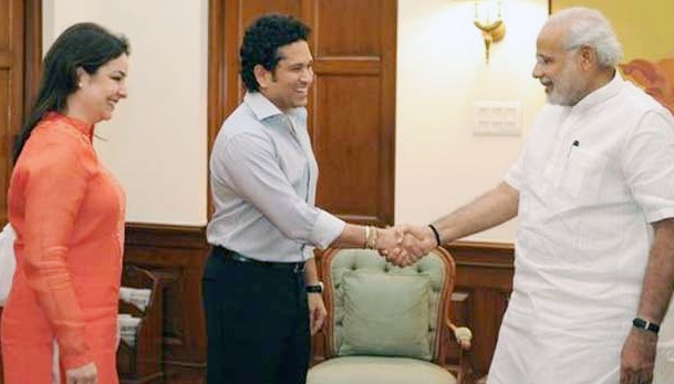 Sachin Tendulkar and his wife Anjali met Prime Minister Narendra Modi