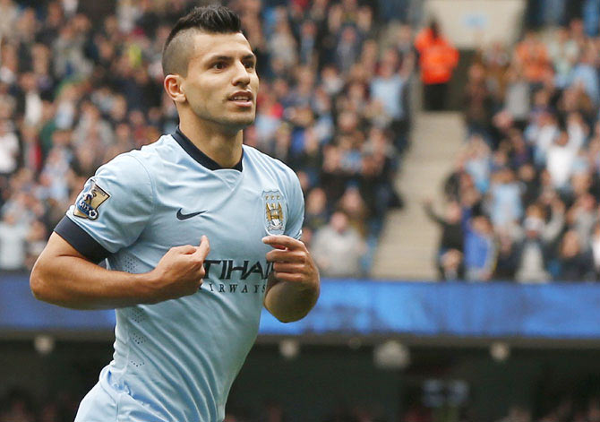 Manchester City's Sergio Aguero celebrates scoring a goal during their English Premier League match against Tottenham Hotspur at the Etihad Stadium on Saturday