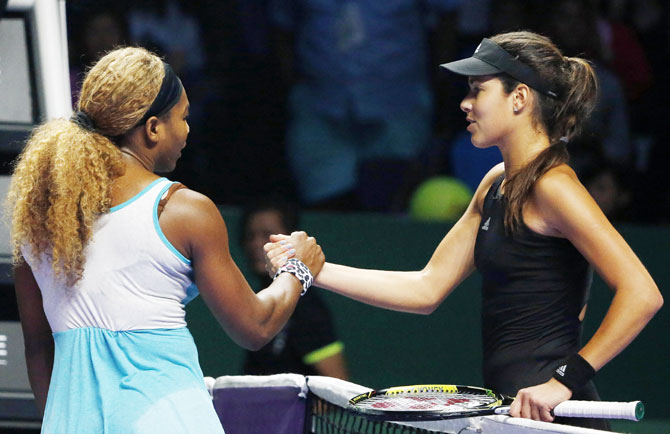 Rediff Sports - Cricket, Indian hockey, Tennis, Football, Chess, Golf - WTA Finals: Serena Williams battles past Ivanovic in opener