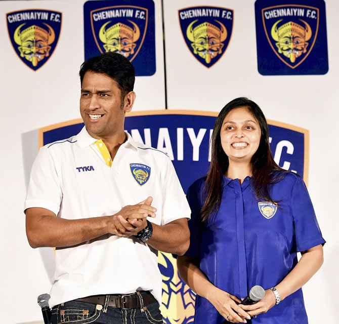 Indian cricket team captain MS Dhoni addressing the media after signing as co-owner of Indian Super League (ISL) franchise Chennaiyin FC in Chennai
