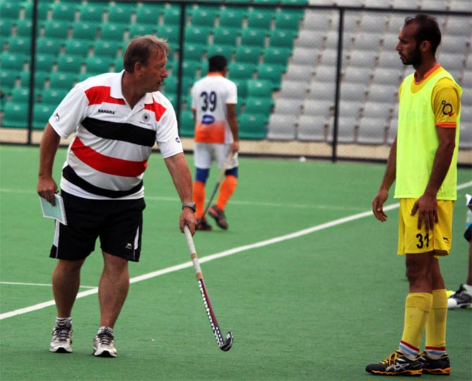 Terry Walsh during training with the Indian men's hockey team.