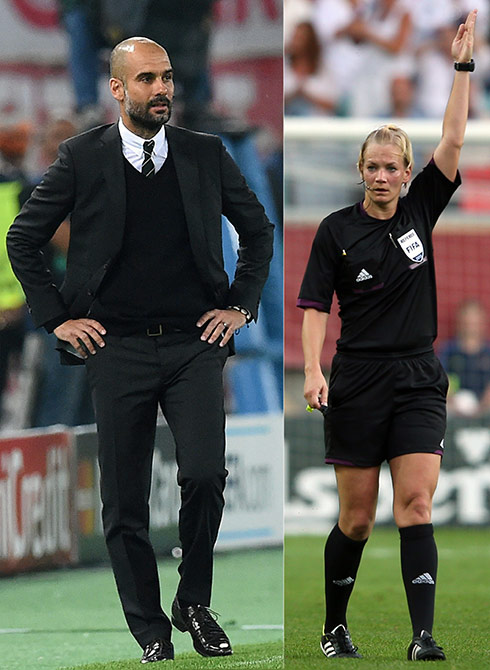 Pep Guardiola head coach of FC Bayern Muenchen and Referee Bibians Steinhaus of Germany