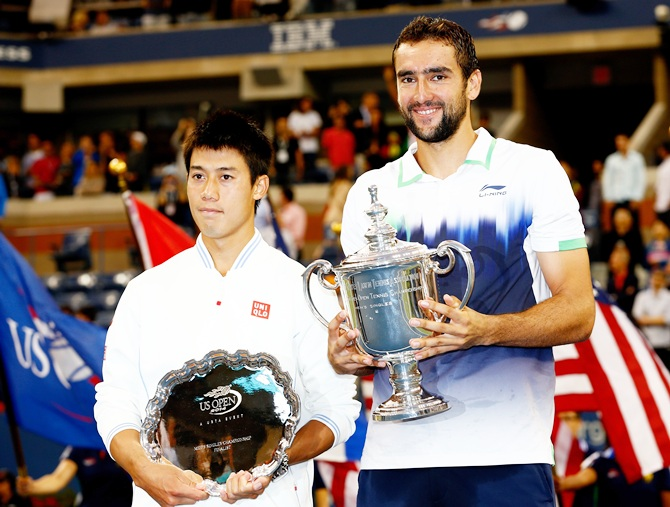 Kei Nishikori, left, of Japan and Marin Cilic of Croatia
