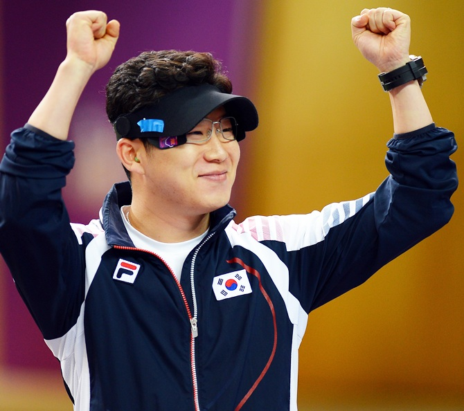 Jongoh Jin of Korea reacts after winning the gold medal.