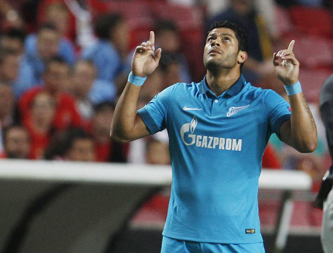 Champions League: Hulk, Witsel help Zenit win at Benfica