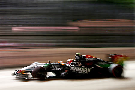 Sergio Perez of Mexico and Force India drives during practice ahead of the Singapore Formula One Grand Prix at Marina Bay Street Circuit