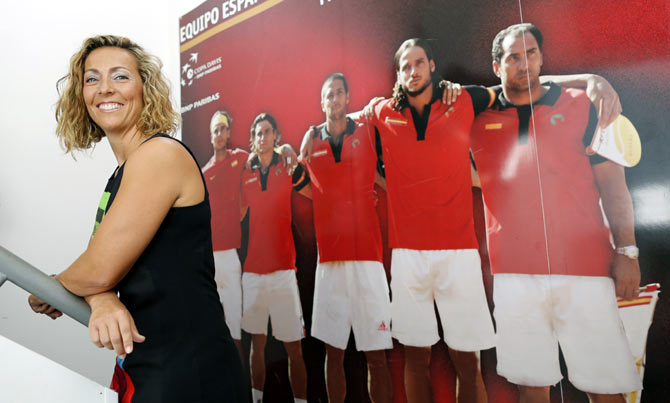Spain's new Davis Cup captain Gala Leon poses for photographers in Seville