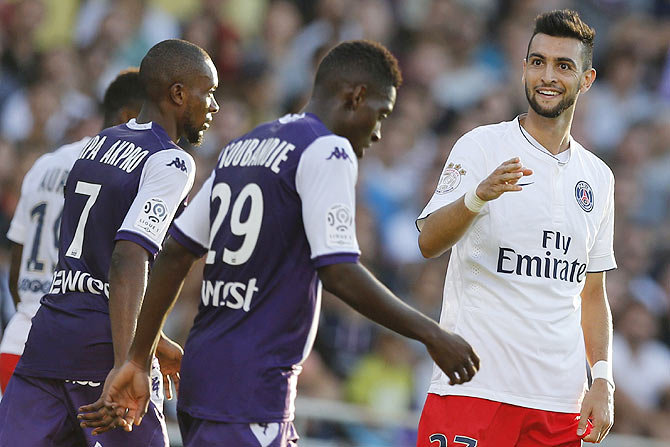 Paris St Germain's Javier Pastore (right) reacts during the team's French Ligue 1 soccer match against Toulouse
