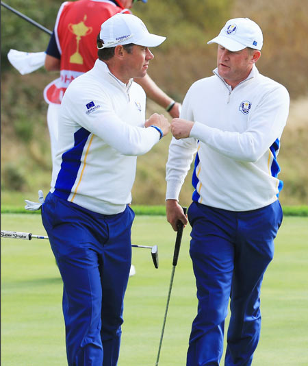 Lee Westwood of Europe and Jamie Donaldson of Europe celebrate on the 9th green during the Afternoon Foursomes of the 2014 Ryder Cup on the PGA Centenary course at the Gleneagles Hotel in Auchterarder, Scotland, on Saturday