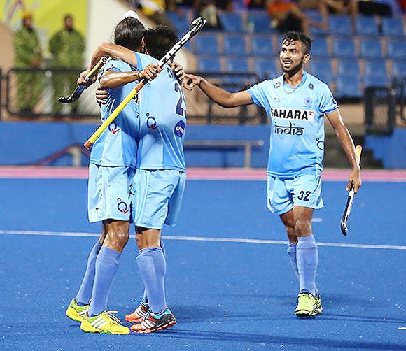 India players celebrate a goal against New Zealand on Monday