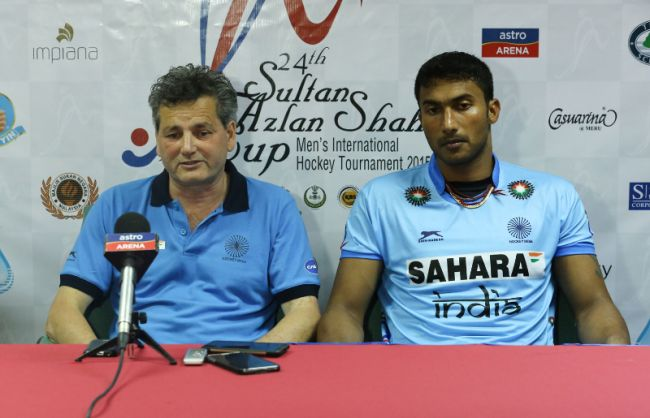 India coach Paul Van Ass speaks with media persons